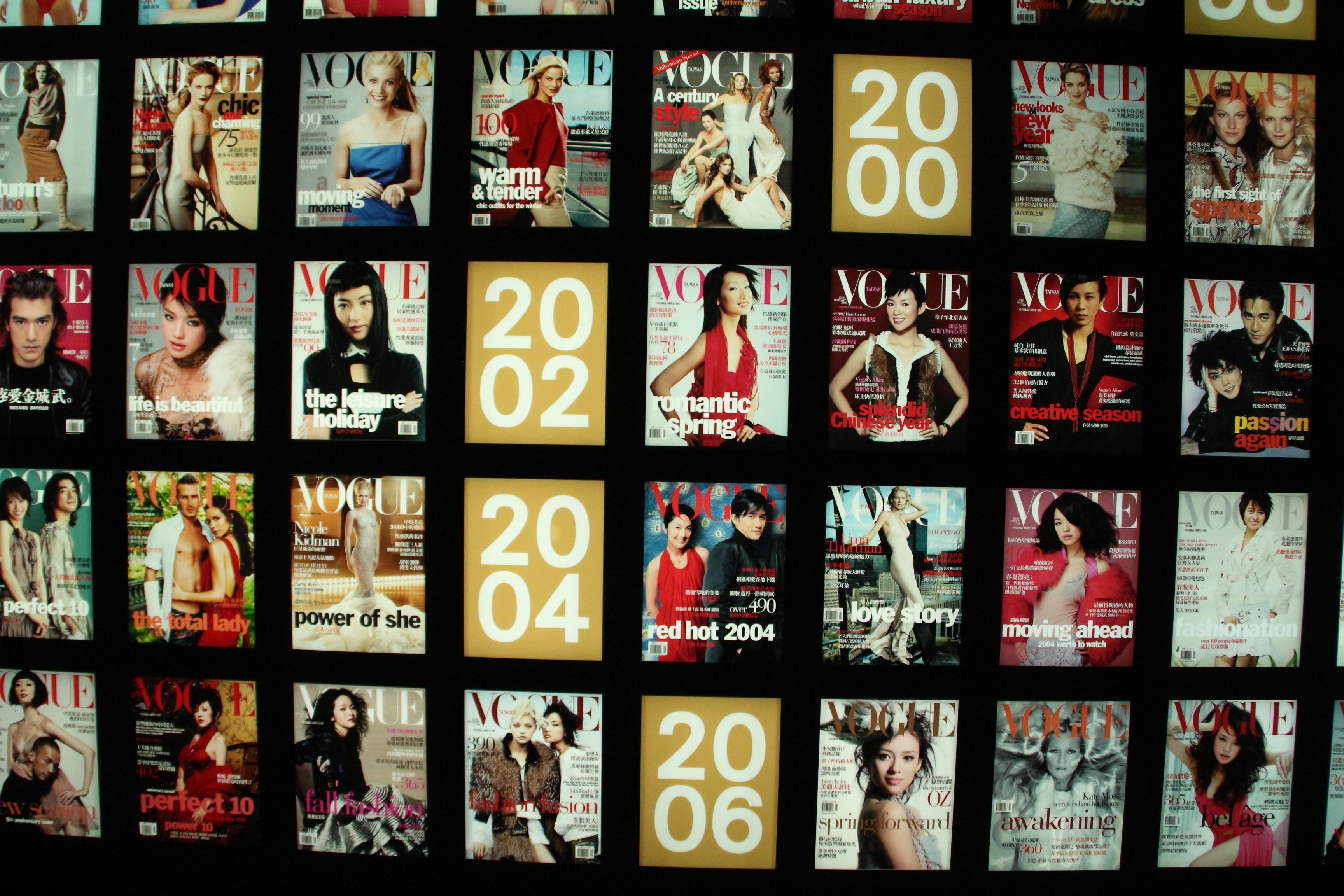 回顧台灣20年的VOGUE封面,與歐美風格不盡相同。 攝影/ 翁悅心