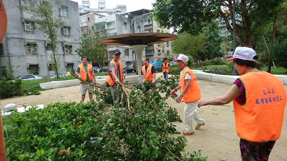 志工協助清除斷樹。照片拍攝/記者林韶君。
