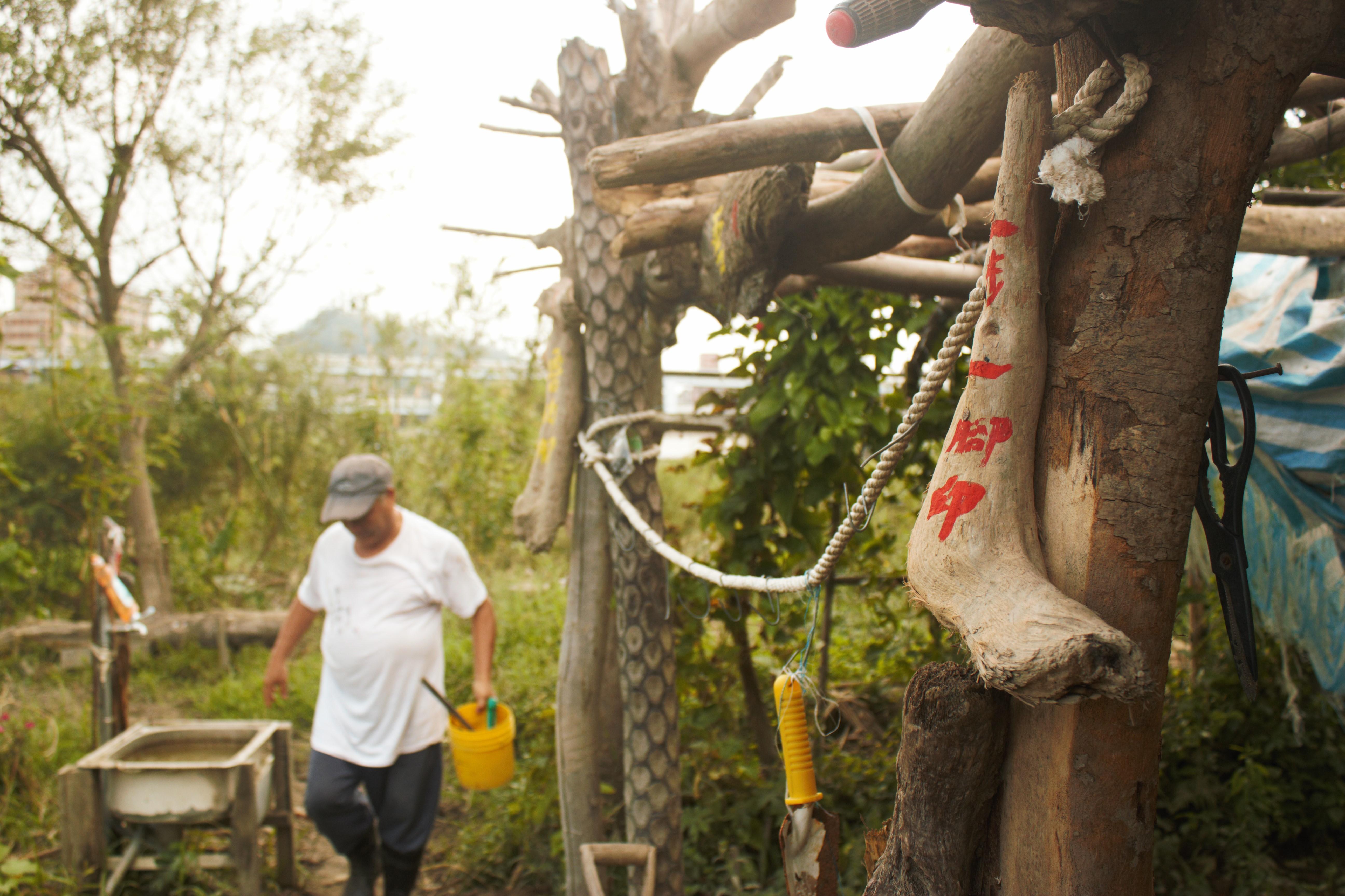 志工自行撿拾漂流木裝飾溼地園區。攝影/蔡家愷
