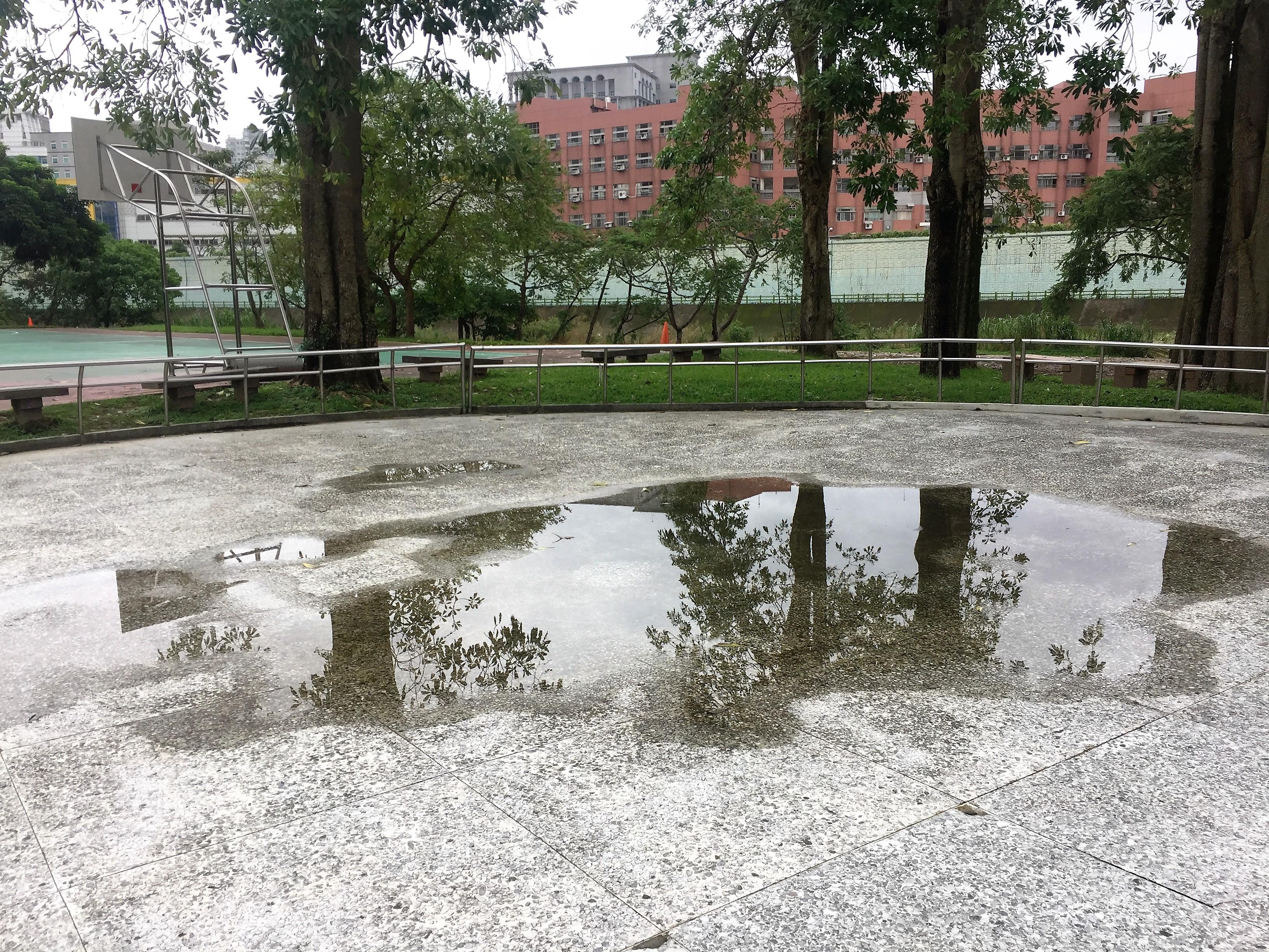 河濱公園水泥地會造成排水不暢,圖為雨後溜冰場上的積水。攝影/孔祥智