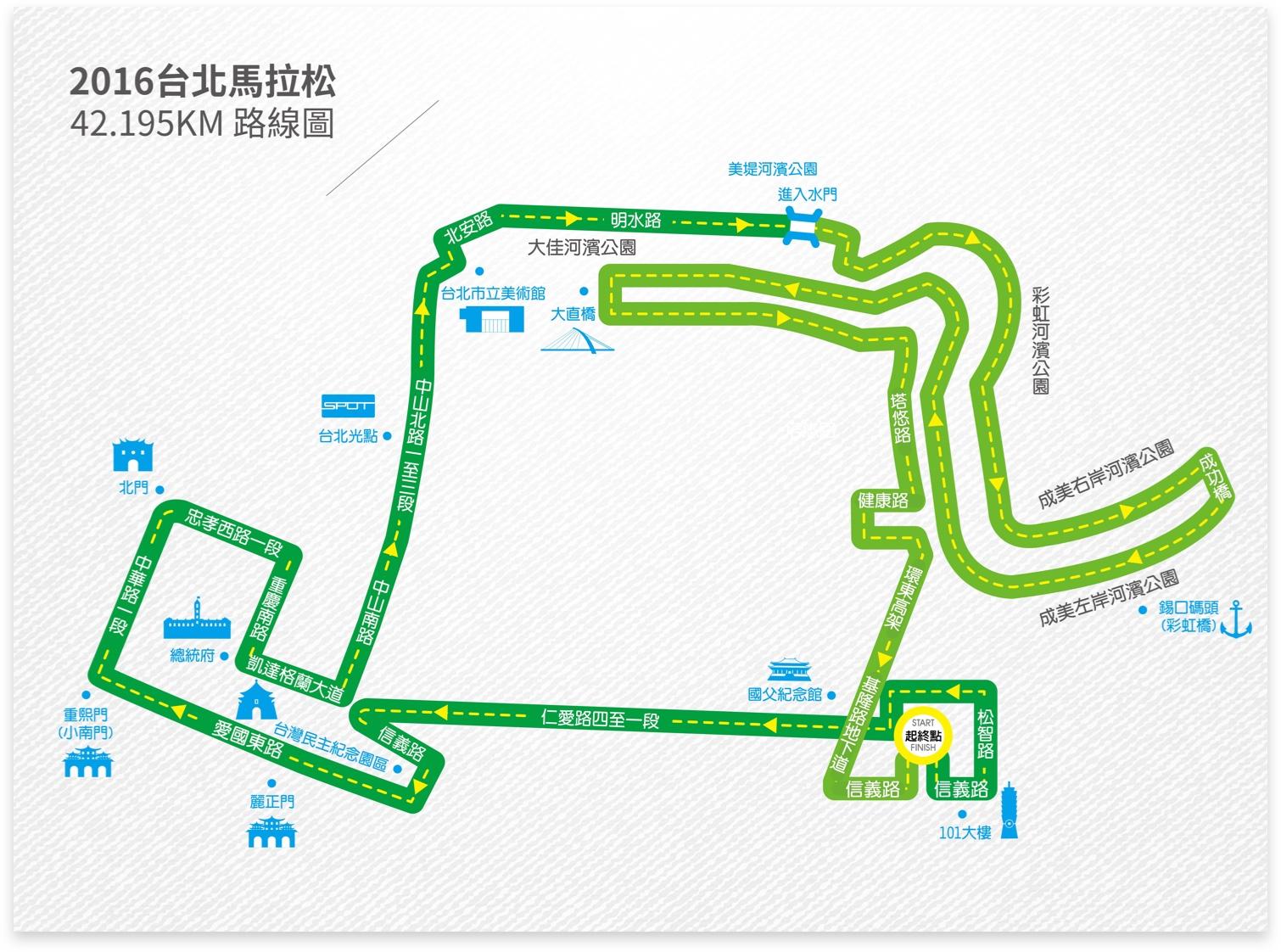 2016台北馬拉松路線圖。圖片提供/中華民國路跑協會
