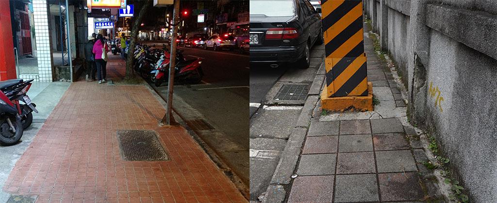 圖左為別處人行道,寬度約為2公尺。圖右試院路寬度不到1公尺,相對狹窄許多。攝影/郭育伶