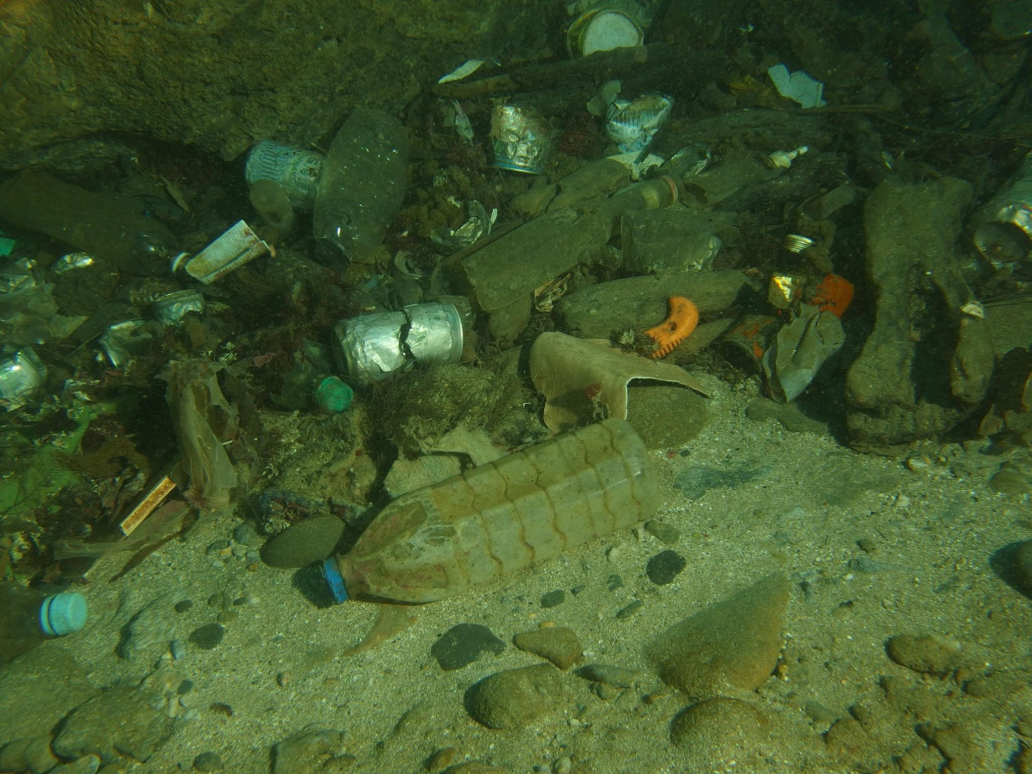 寶特瓶、空罐與魚網是海底中常見的垃圾。 圖片提供/林祐平