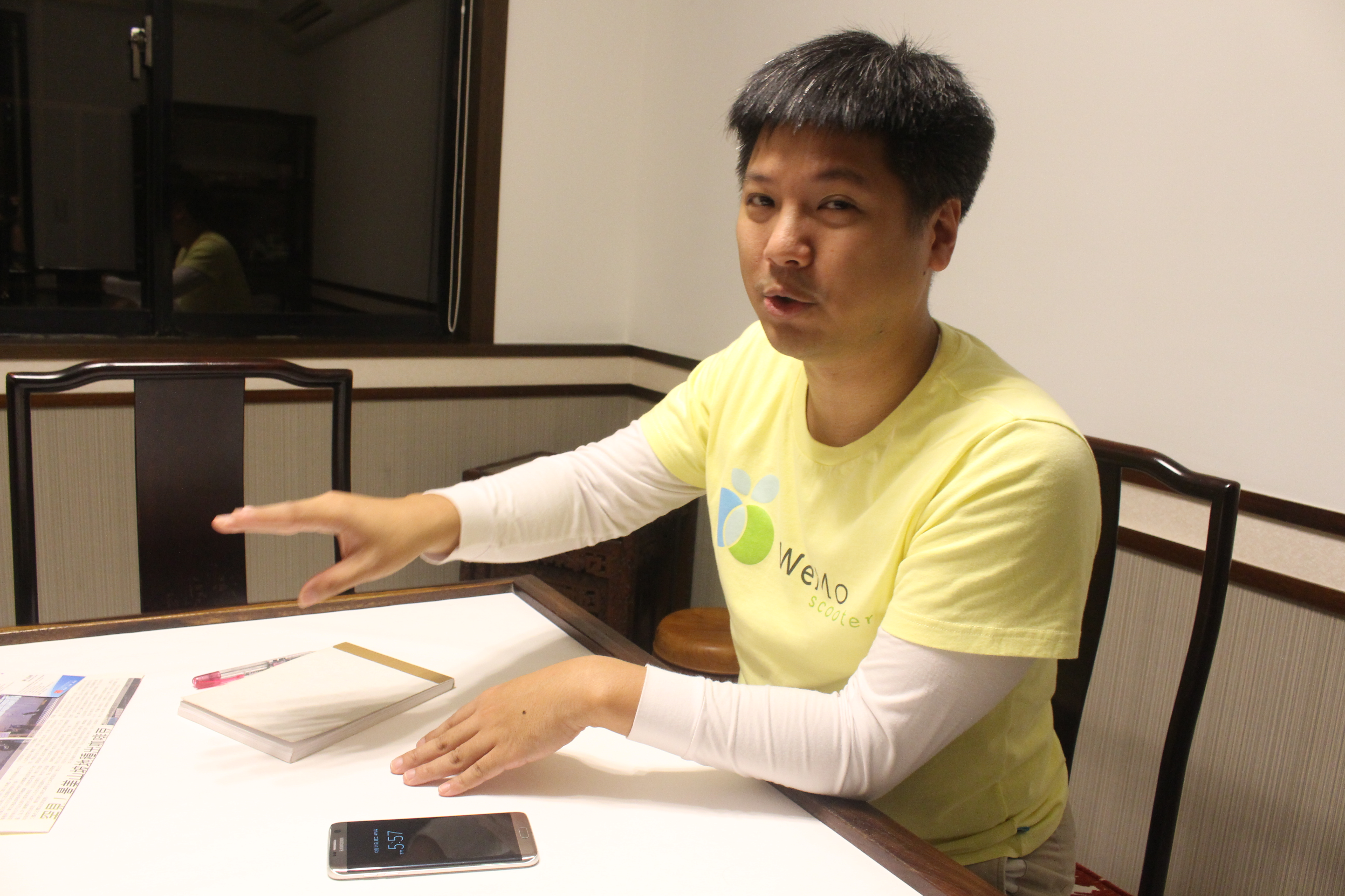 Jeffrey Wu(吳昕霈)says, the idea of rental electric scooter is from sharing economy. Photo/ Chen, Pin-hua(陳品樺)