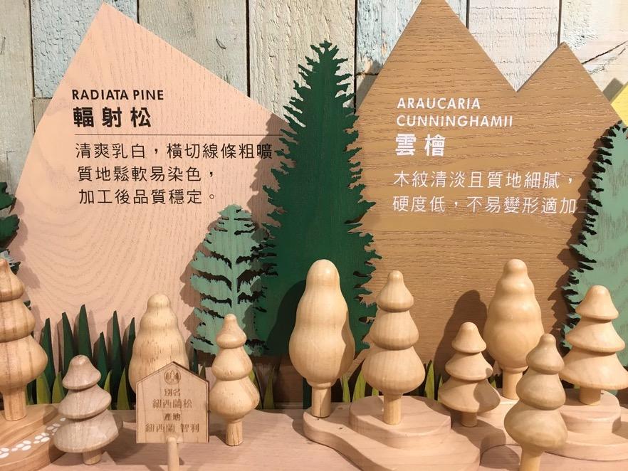 說明使用的木料就是其介紹的原木,所以質地、色澤都可以很清楚地認識到,極富美感的擺設十分療癒,讓枯燥的介紹也可以很生動。(攝影/陳韋蓉)