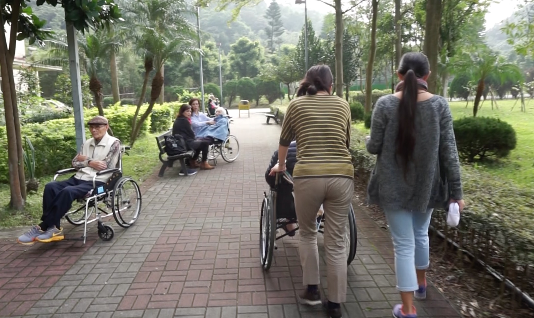 外籍看護陪伴老人家散步運動。攝影/許哲媛